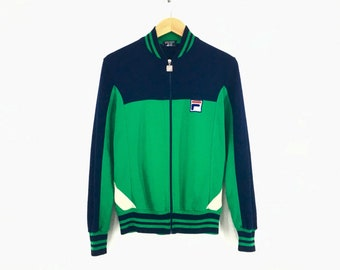f0c9920701d0 Vintage! 70s FILA BJ Track Top Bjorn Borg Kelly Green Oceana 80s Casuals  Zip Up Sweater Jacket Fila Tiebreak / Small Size