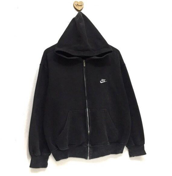Vintage 90er Jahre NIKE bestickt kleine Logo Zip Up Pullover Hoodie Langarm Sweatshirt Pullover schwarz Farbe mittlere Rand