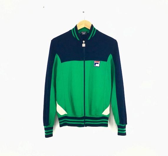 Vintage ! des années 70 FILA BJ Track Top Bjorn Borg Kelly Green Oceana 80 s Casuals Zip Up pull veste Fila bris d'égalité petite taille