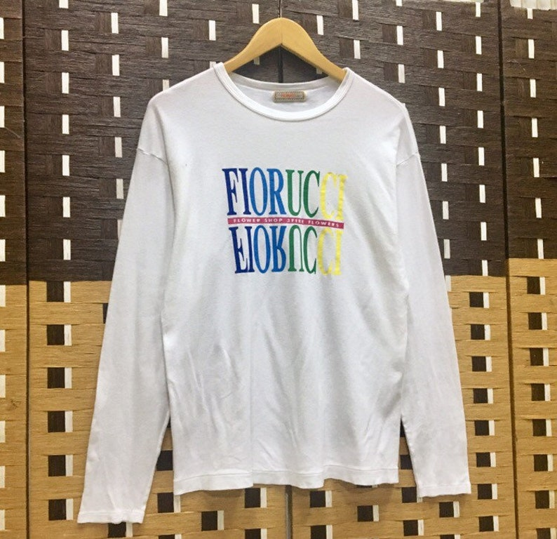 Vintage FIORUCCI Italy  Multicolour CrewNeck Long Sleeve T-shirt White Colour  Small Size Rare