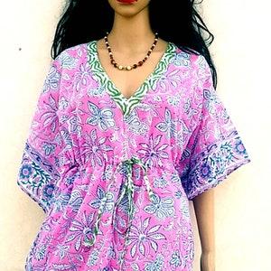 Cotton Kaftan Hand Block Print Night wear Short Maxi Ethnic Top Swim ALine kurta