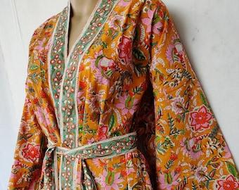 Indian Long Kimono Robe Natural Cotton Kaftan Ethnic Wear Night Comfort Tunic Screen Printed Robes Bridesmaid Floral Print Beach Cover Up
