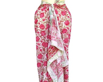 7aaeff0bad Indian Cotton Pareo Sarong Bikini Parioes Women Cover up Mini Stole Long  Scarf Beach Wear Hand Block Print Indian 72 x 42 inch Skirt Wrap