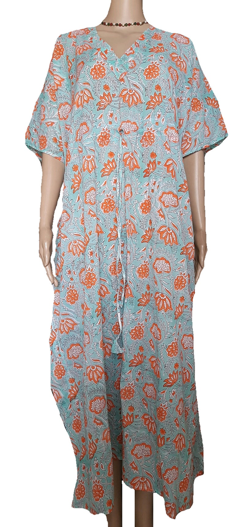 Indian Cotton Kaftan Handmade Block Print Long Robes Maxi Night Suit Ethnic Kurta Gown kaftan Beach cover up Swim Wear Yoga Top Women Tunic