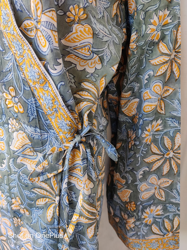 Indian Cotton Natural Ethnic Design Women Long Japanese Soft Kaftan Kimono Night CoverUp Hand Block Floral Print Traditional Sleep Wear Hobo