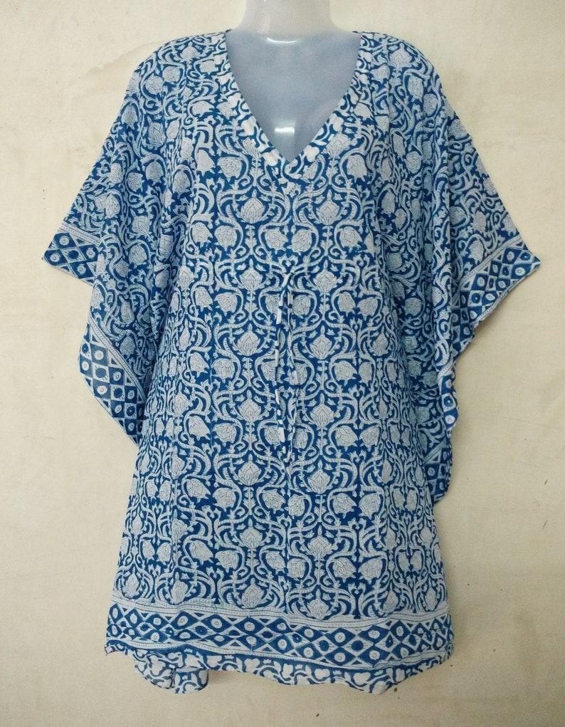 92805323e9 Indian hand block Anokhi print kaftan bikini cover up Kurta | Etsy