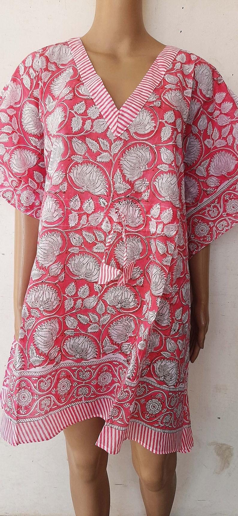 Indian Cotton Ethnic Soft Handmade Bohemian Short Kaftan Boho And Hippie Style Vintage Dressing Gown Bikini Beach Cover Up Hand Block Print