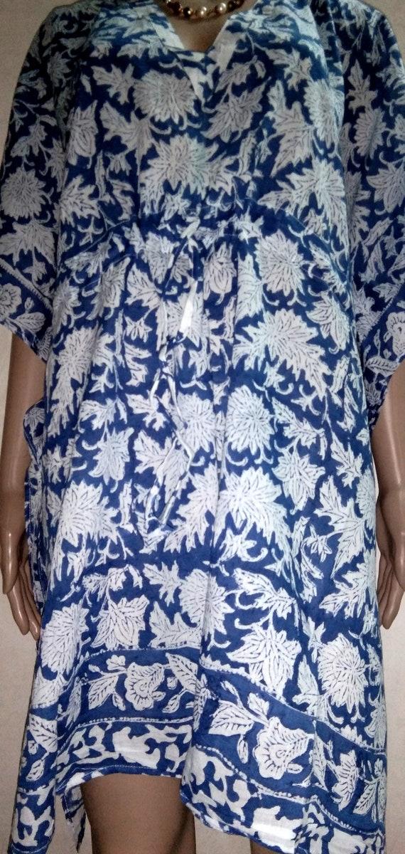 Night Wear Gown Floral Printed Women Tunic Long Dress Throw Ethnic Dress Kimono Kaftan Beach Cover up 100/% Cotton Hand Block Print Indian