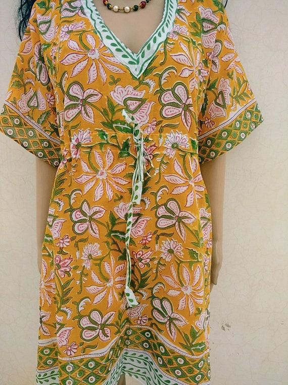 Indian Cotton Hand Block Print Kaftan Beach Cover Up Light Sleepwear Kimono Short A Line Kurta Women Night Robe Bath Dress Paisley Caftan