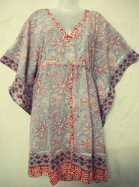 Indian Floral Print Long Kaftan Dressing Maxi Hand Block Print Night Tunic Cover Garment Care Kimono Robe Hand Block Print Vintage Caftan