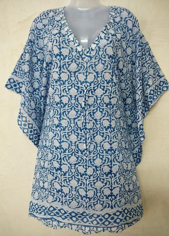 Indian Cotton Block Print Kaftan For Women Short Kaftan Dress,Sexy Beach Bikini Cover Up Hippie Kimono Robe Maxi,Vintage Ethnic Night Kurta