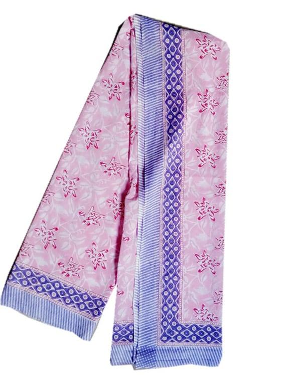 Indian Cotton Block Print Women Scarf Neck Wrap Sarong CoverUp Bath Bikini Pareo