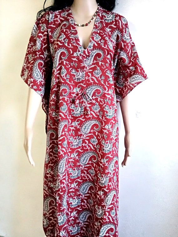 Indian Cotton Long Kaftan For Women Floral Block print Tunic Beach Party Caftan Party Ethnic Kimono Robe Maxi Vintage Plus Size Night Wear A