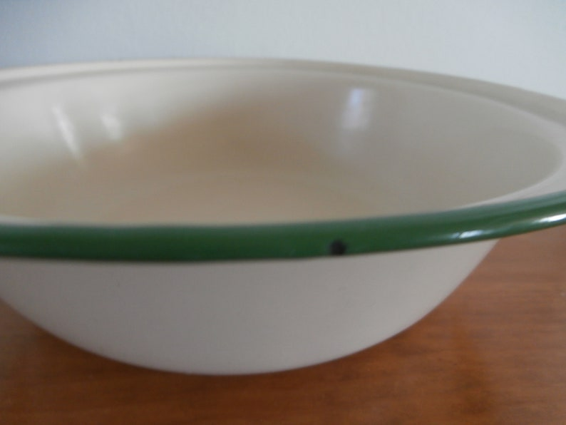 Vintage French Metal Enamelware Green Rim Beige Mixing Serving Bowl