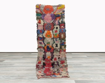 Colorful Vintage rug 2 x 7 ft! Moroccan Berber small Rugs.
