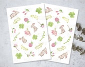 Lucky Bunnies, Printable Download PNG File, Journal, Planner Stickers, Bujo, Papercraft, Scrapbooking, Green Clover, Bamboo, Flowers