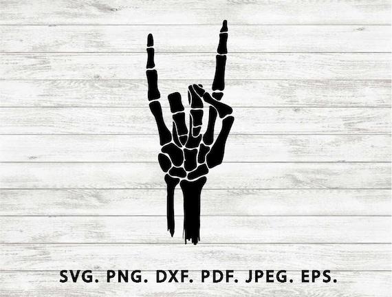 Rock And Roll Svg Signe Des Cornes Svg Squelette Main Svg à La Main Signe Silhouett Os D Humains Svg Svg Fichiers Pour Cricut Svg Coupe Fichier Dxf