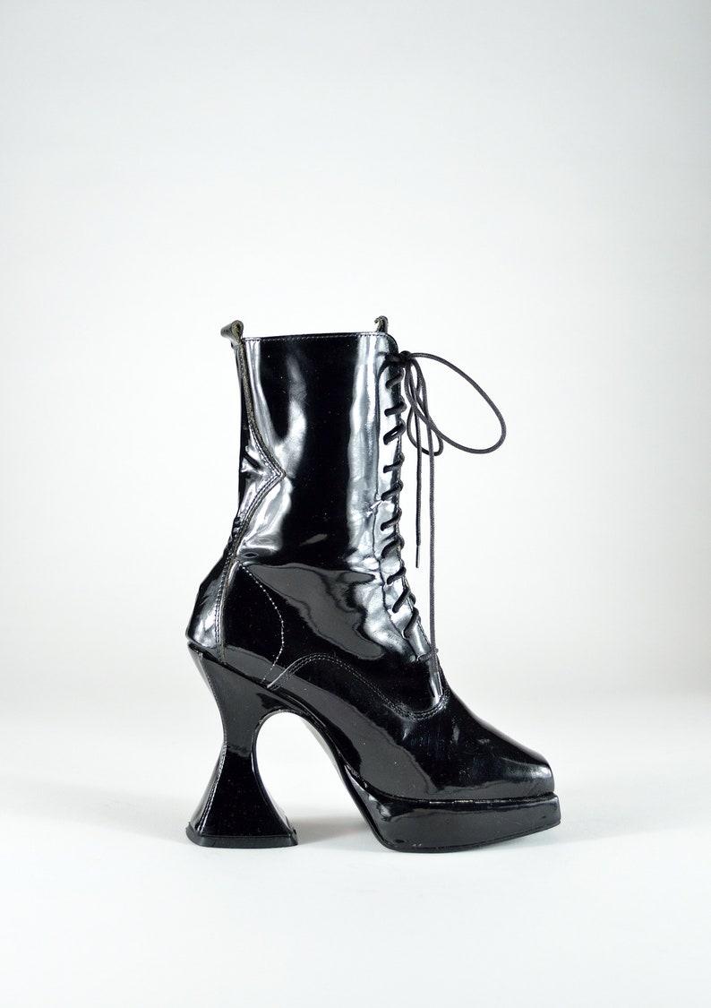 75a4d77f8f2 Rare Vintage 90s Lace Up Victorian Coffin Heel Platform Goth