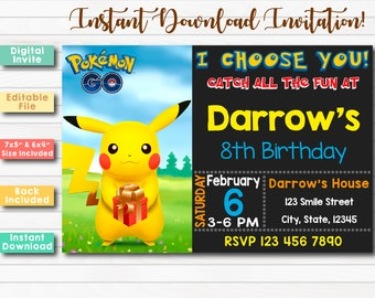 Pokemon Instant Download Invitation Go Editable Birthday