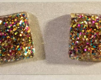 5571c26af Kate Spade Inspired - Glitter resin sparkly square stud, multicolored,  lightweight, hypoallergenic fun cute earrings