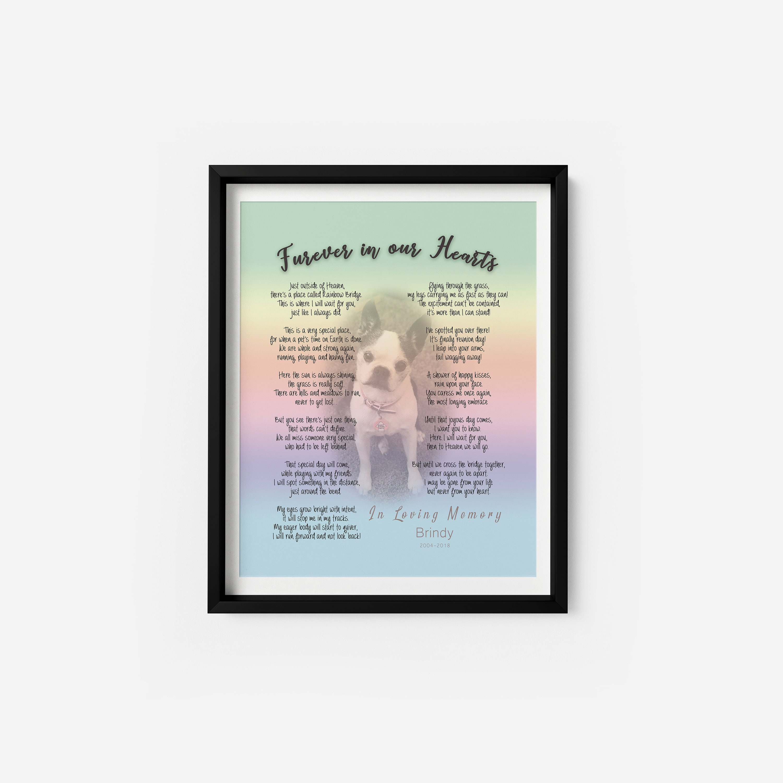 Rainbow Bridge Poem Art Print 8x10 Print Frameable Decorative Picture Pet Loss