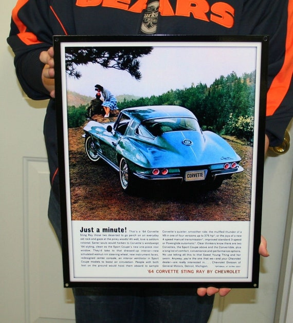 Black Diamond Cross Pistons Corvette C7 Metal Sign Wall Hanging Art 25x19
