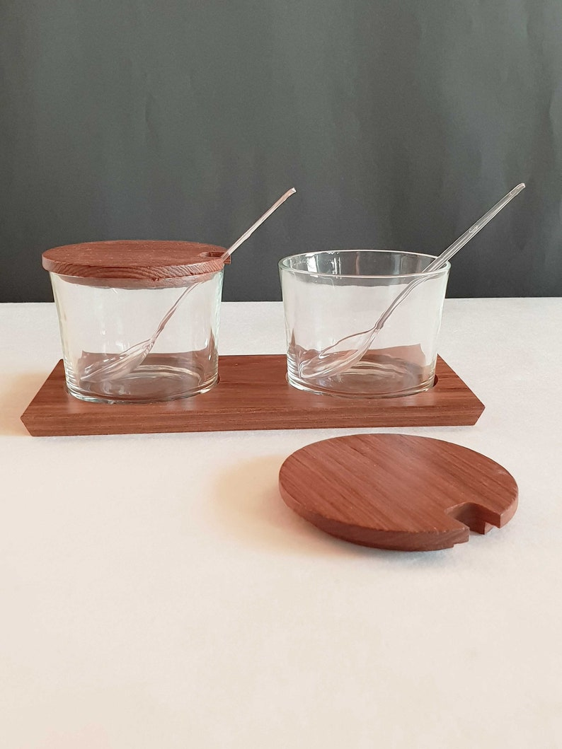 sauces Jar set for jams midcentury glass container on teak tray vintage dips