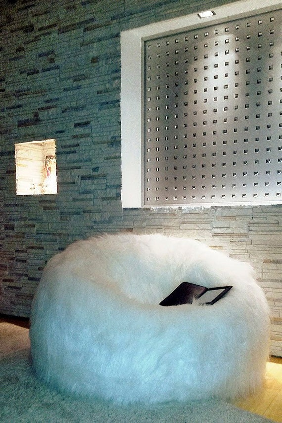 Luxury Large Lush   Soft Alpaca Faux Fur Bean Bag Cloud Chair Cover 7098a9def4b13