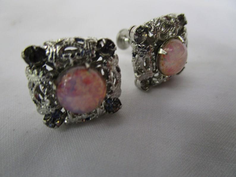 Fancy Silver Tone Screw Back Earrings with Moon Stone Art Glass Nice