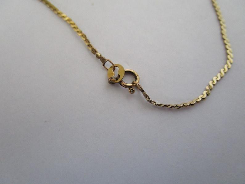 Vintage 14 K Gold Filled Flat S Chain Necklace /& Leaf Pendant