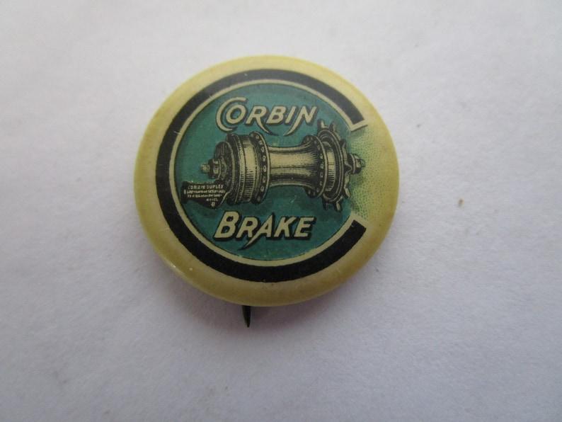 Rare C 1910 Advertising Celluloid Pin Corbin Brake Motorcycle Whitehead /& Hoag