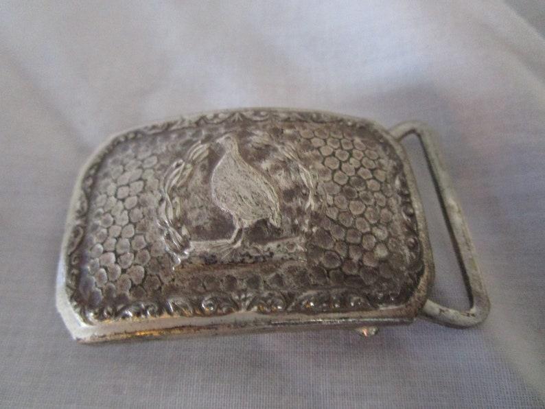 1923 Antique Silver Arts /& Crafts Dupont Belt Buckle with Pheasant Motif
