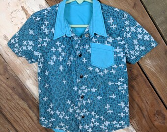 Handmade, one of a kind, toddler boy snap down shirt.