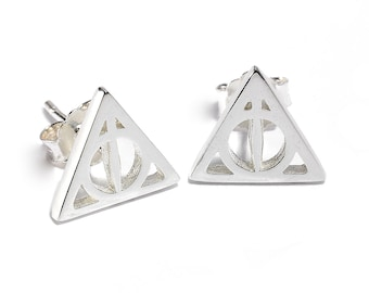 Clip on earrings non pierced Mens stud earring hogwarts gift Costume jewelry Harry potter deathly hallows magnetic stud earrings