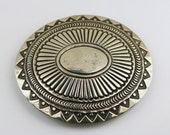 Vintage Navajo Large Oval Ethnic Tribal Design Belt Buckle 925 Sterling Silver OT 362