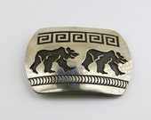 Vintage Rosco Scott Bear Navajo Ethnic Tribal Design Belt Buckle 925 Sterling Silver OT 361