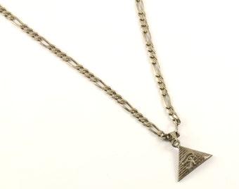Vintage Diamond Cut Design Chain Link Necklace 925 Sterling Silver NC 1215