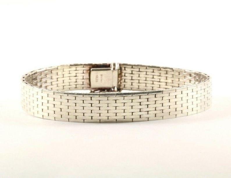 401744712556 Vintage Panther Herringbone Design Link Chain Bracelet 925 Sterling Br 3226