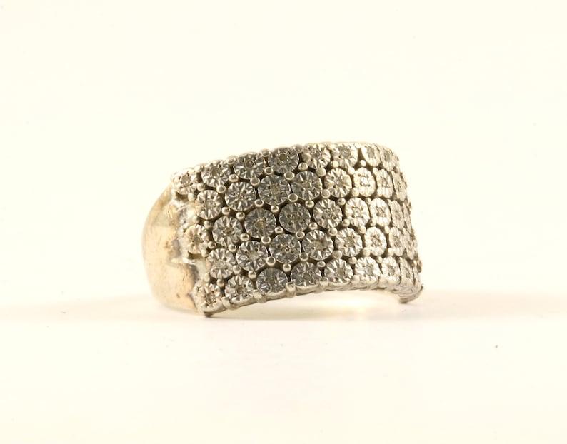 Vintage Natural 48 Diamonds Design Size 8 Ring 925 Sterling Silver RG 3547