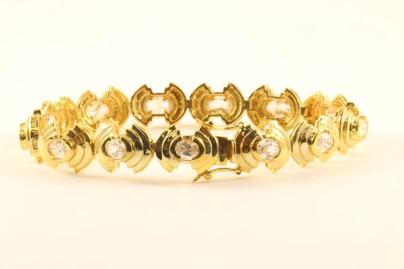 Vintage Oval Crystals CZ Design Link Chain Bracelet 925 Sterling Silver BR 3397