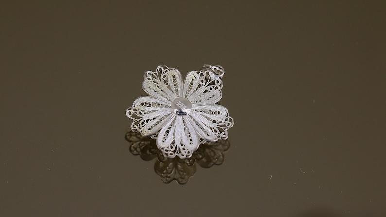 Vintage Cut Scroll Filigree Flower Floral Blooming Design Pendant 925 Sterling PD 2009