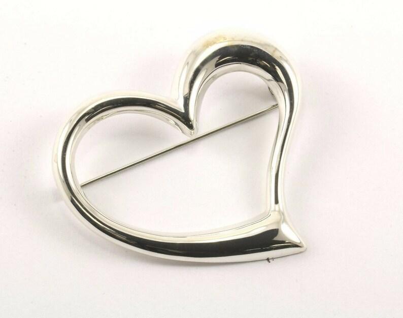 E Vintage Heart Shape Mirror Finish Pinbrooch 925 Sterling Silver Bb 338