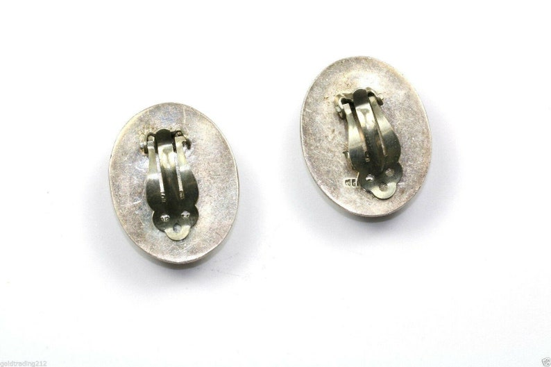 401742007678 Vintage Taxco Mexico Oval Striped Clip On Earrings 1.25 In 925 Sterling Er 168