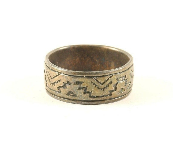 Vintage Stars Galaxy Dots Ornament Design Band Ring 925 Sterling Silver Size 9 RG 227