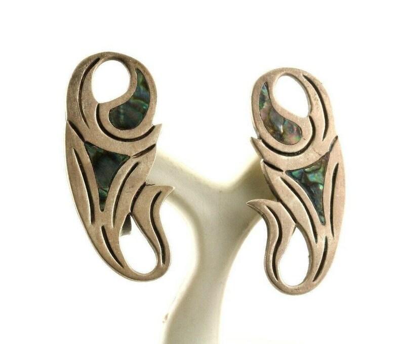 Vintage Abalone Flower Design Screw Back Earrings 925 Sterling Er 631 123759756637