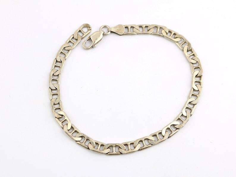 Vintage Men Marina Mariner Design Chain Link Bracelet 925 Sterling Silver BR 1000