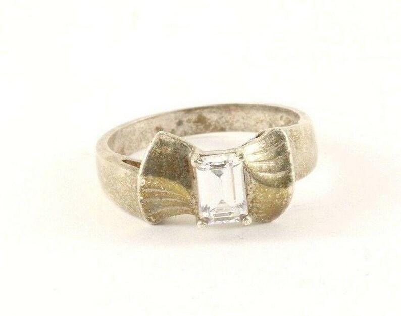 273818581698 Vintage Silver Crystal Bantique Shape Design Ring 925 Sterling Silver Rg 3816