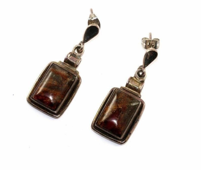 401734525075 Vtg Natural Amber Stone Rectangle Dangle Earrings 925 Sterling Er 794