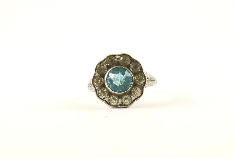 Vintage Blue /& White Crystals Flower Shape Design Ring 925 Sterling Silver RG 4168