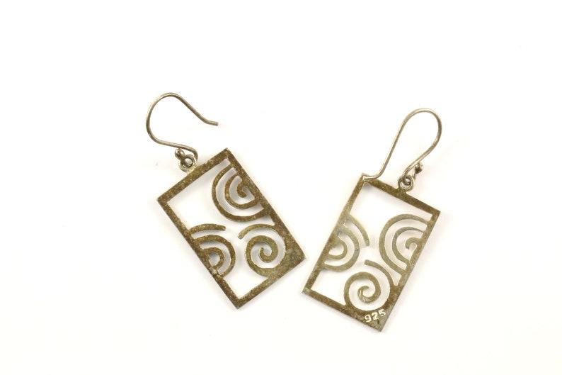 Vintage Open Scroll Design Drop Dangle Earrings 925 Sterling Silver ER 678